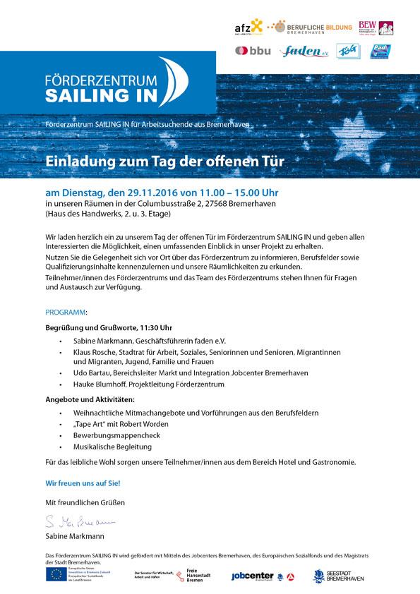 tag der offenen tür | förderzentrum sailing in, Einladung